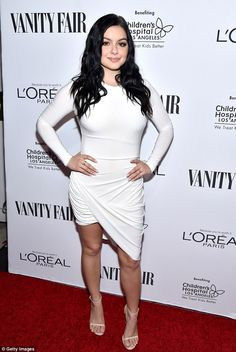 White hot:Ariel Winter looked fantastic as she posed up on the red carpet at theVanity F...