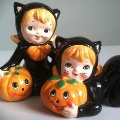 Vintage Lefton Figurines  Halloween Cat Girl by rockinrubysvintage