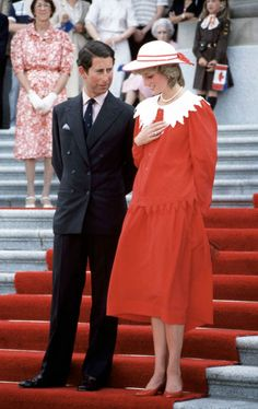 Prince Charles and Diana on a visit to Canada