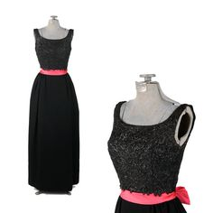 Vintage 1960's Black Crepe Scalloped Hot Pink Satin Bow Cocktail Party Prom Dress XS