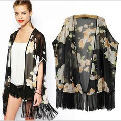 Find More Blouses & Shirts Information about Black Floral Kimonos Cardigan Tassel Trimmed Feminino Chiffon Blouse,High Quality cardigan tunic,China cardigans kids Suppliers, Cheap cardigan sweat from Lolo Moda on Aliexpress.com