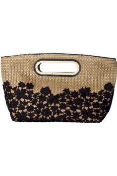EPOCA, botanical lace straw bag purse tote