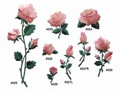Pink-Rose-Flower-w-Green-Leaves-Embroidery-Iron-On-Applique-Patch