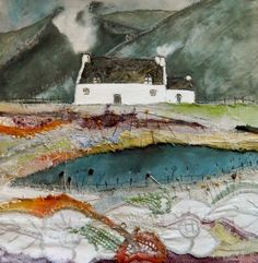Tranquil Moment in the Valley by Textile Artist Louise O'Hara Fiber Art Quilts, Textile Fiber Art, Textiles, Free Motion Embroidery, Fabric Art, Fabric Books, Landscape Quilts, Collage Artists, Scrappy Quilts