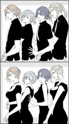 Ren, Ai, Masato and Camus as women too Manga Art, Anime Art, Character Inspiration, Character Art, Drawn Art, Chica Anime Manga, Uta No Prince Sama, Diabolik Lovers, Anime Style