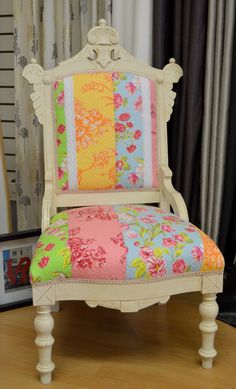 HvR ONE ~ Recycled Designs. Eastlake Chair with quilt fabric. for sale.