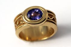 14k gold ring with Blue tanzanite AAA , Unique engagement ring, Promise ring, Unique handmade jewellery, Tanzanite jewelry, Statement Ring by CADIjewelry on Etsy