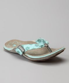 Take a look at this Aqua Manuka Thread Flip-Flop - Women by Cushe on #zulily today!