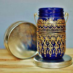 Suspension marocaine Mason Jar lanterne verre bleu par LITdecor