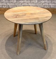Mantis Solid Mango Wood Fruitwood Round Coffee Table on 4 Tapered legs Round Wood Coffee Table, Wood Rounds, Hexagon Shape, Mango, Furniture, Home Decor, Lawn, Gardens, Etsy