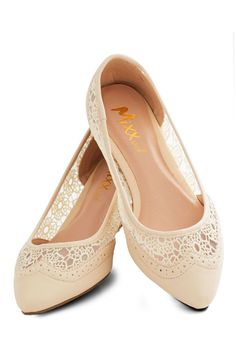 My Fair Lacy Flat. One look at these lovely cream flats is all it took to charm you! #tan #modcloth #weddingshoes
