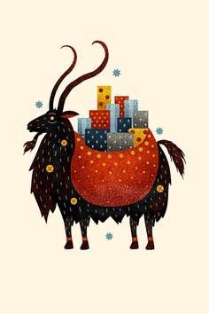 Yule Goat by Scott Benson. The Yule Goat is a Scandinavian tradition that predates the arrival of Christianity in Northern Europe. The goat was a symbol of the Norse god Thor, whose flying chariot was Noel Christmas, Father Christmas, Winter Christmas, Christmas Cards, Primitive Christmas, Country Christmas, Christmas Decor, Holiday Decor, Yule Goat