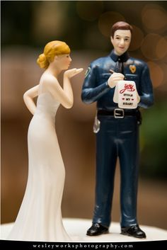 Creative Wedding Ideas, Creative Cake toppers, Police Cake, centerpieces, Wardrobe, Wedding Ideas, Wesley Works Entertainment & Photography
