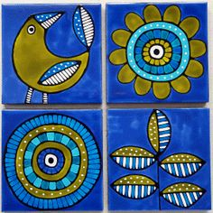 hand painted tiles for coasters or the DIY tile coffee table that I picked up at a thrift store!