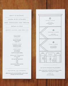 This invitation included a program, which featured a schematic of the wedding venue