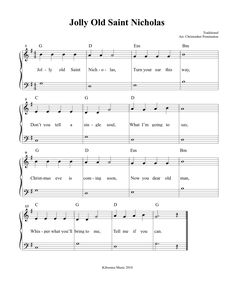 Jolly Old Saint Nicholas Sheet Music Violin Sheet Music, Piano Music, Piano Songs, Songs To Sing, Kids Songs, Piano Lessons, Music Lessons, Christmas Sheet Music, Kids Christmas
