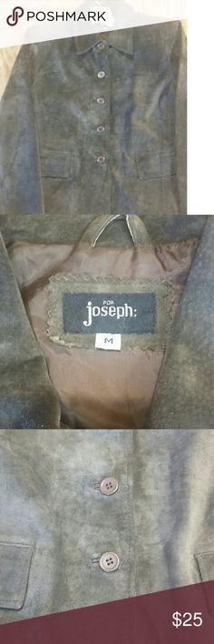 Chocolate Brown Suede Lined Jacket - M Chocolate brown suede jacket size medium.  In very good condition. Inside is lined. Two front flap pockets.  Shoulder to hem approximately 23 and 1/2 in. Five buttons down front. Small shoulder pads. Joseph Jackets & Coats