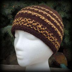 84699f21711 Items similar to Alpaca Merino Hat Dark Brown and Honey Gold - Fair Isle  Design Hand Knit on Etsy