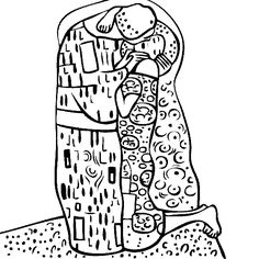 find this pin and more on painting and drawing gustav klimts the kiss coloring page - Artist Coloring Page