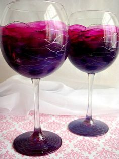 Wine Glasses Hand Painted Wine Glass Set of 2 by bluemorphoglass, $60.00