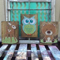 $159 Etsy Woodland Animal Set of String Art Signs, Deer String Art, Owl String Art, Bear String Art, Woodland Baby Gift, Woodland Nursery Art
