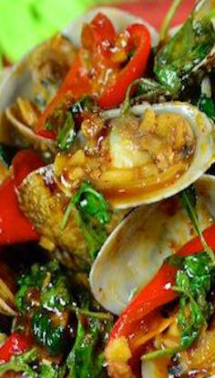 Clams in Spicy Thai Chili Jam Sauce and Basil