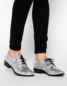 New Look Jazzle Silver Glitter Lace Up Brogue Shoes $37.88 ASOS