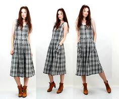 Plaid Dress / Button Up Dress / Sleeveless Dress / Midi Dress / Day Dress / Casual Dress / Large Dress by Ramaci on Etsy