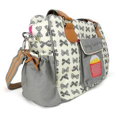 Pink Lining Yummy Mummy Grey Bows. Its not a changing bag, its a dream...