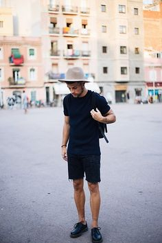 Get this look: http://lb.nu/look/8386181  More looks by Kevin Elezaj: http://lb.nu/kevinelezaj  Items in this look:  Dr. Martens Oxfords, Bershka Shorts, Cos Shirt, Ryhthm Hat