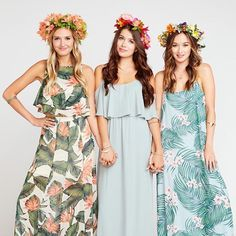 Mix + match with our tropical vibe bridesmaid dresses! Hawaii Wedding, Destination Wedding, Pool Wedding Decorations, Riviera Maya, Mumu Wedding, Beach Wedding Inspiration, Tropical Dress, Dream Wedding, Wedding Stuff