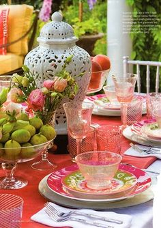 Mix and match dishes and stemware for classy al fresco dining. Use the ginger jar from your mantel as a centerpiece. It seems effortless yet beautiful Dresser La Table, Sweet Home, Beautiful Table Settings, Pink Depression Glass, Al Fresco Dining, Deco Table, Decoration Table, Home Interior, Interior Design