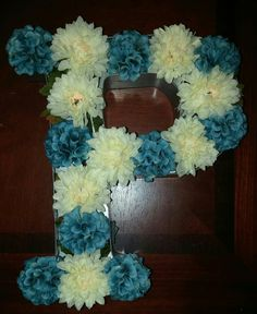 """Initial wall coming together one """"P"""" at a time Initial Wall, Hanukkah, Initials, Wreaths, Home Decor, Decoration Home, Door Wreaths, Room Decor, Deco Mesh Wreaths"""