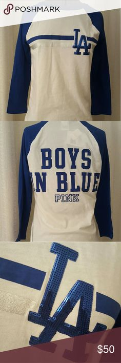 65aed007bcfba Victoria s Secret Pink Dodgers bling shirt SM New with tags