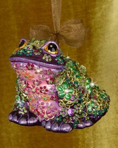 H8LJ8 Jay Strongwater Mille Fiori Frog Christmas Ornament
