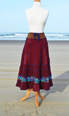 Maxi Sweater Skirt Women's Upcycled Clothing Dark Red by MyOlyGirl