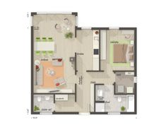 Grundriss Bungalow 2 Zimmer mit Erker - Town Country Haus Bungalow 78 Town Country Haus, Floor Plans, House, House Construction Plan, Modern Bungalow, Home, Homes, Floor Plan Drawing, Houses