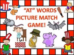 """This product is nine cards """"AT"""" words picture match game.  This is a fun and engaging game while students learn different words that have the """"AT"""" sound. $ https://www.teacherspayteachers.com/Store/Donna-Thompson"""