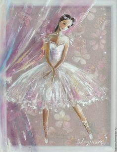 Купить Маленькая Балерина -картина на шелке - белый, картина в белом, картина в белый интерьер