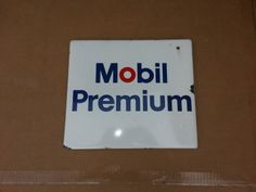Mobil premium gas sign. Advertising Signs, Garage, Oil, Metal, Carport Garage, Sandwich Boards, Metals, Garages, Cooking Oil