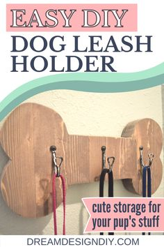 This DIY dog leash holder is wall mounted with hooks making it easy to store your's dog leashes and head out the door for their daily walk. The bone image, included in the post, ads character to the holder. #diy #dogleashholder #woodworking Diy Projects Using Wood, Art Over Bed, Pet Craft, Dog Leash Holder, Daily Walk, Rustic Art, Inspirational Wall Art, Cute Diys, Diy Dog