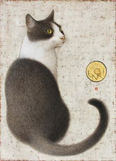 Cats in Art & Illustration: Toshiyuki Enoki: Hijiki. Frida Art, Image Chat, Japanese Cat, Illustration Art, Illustrations, Gatos Cats, Photo Chat, Here Kitty Kitty, Sleepy Kitty