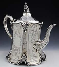 timelesswoodshop:  An English silver tea pot with Chinese figural finial