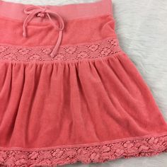 Juicy Couture Womens Size Small Pink Mini Skirt Velour Terry Crochet Draw String  | eBay