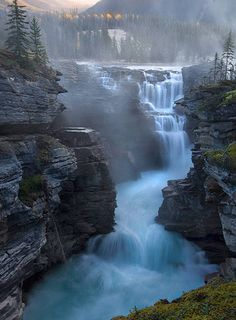 Athabasca Falls, south of Jasper, Canada. Banff & Jasper National Parks contain some of the most spectacular scenery on Earth and some of my favorite hiking areas. Beautiful Waterfalls, Beautiful Landscapes, Natural Waterfalls, Oh The Places You'll Go, Places To Travel, Travel Destinations, Canada Travel, Amazing Nature, Belle Photo