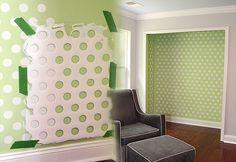 DIY Wall Art Ideas -Polka Dot Walls Using Laundry Basket