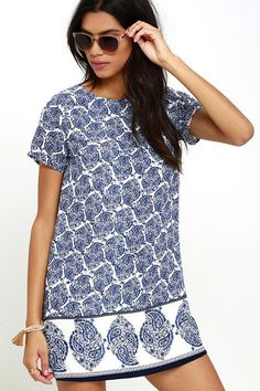 #Lulus - #Lulus Taj Mahal Tour Blue Print Shift Dress - AdoreWe.com