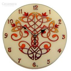 Celtic Tree of Life Red Wall Clock, Original Painting Red Home Decor, Silent Glass Painting Wall Clock, Celtic Wall Decor, Irish Motif Wall Clock Craft, Red Wall Clock, Wall Clocks, Tree Of Life Art, Celtic Tree Of Life, Red Home Decor, Thing 1, Hand Painted Walls, Everyday Objects