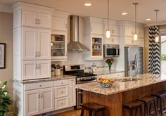 Traditional White / Linen Kitchen Great Room Remodel - Traditional - Kitchen - Salt Lake City - Crown Cabinets