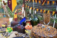 Detalhes da festa infantil com decoração Harry Potter